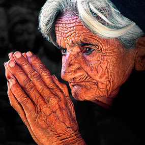 Beseech by Nayyer Reza - People Portraits of Women ( prayer, folded hands, color, wrinkled face, old woman, nayyer, worship, reza,  )