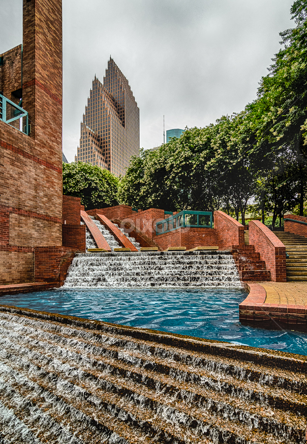Wotham Fountain  by Dee Zunker - City,  Street & Park  Skylines ( water, houston, fountain, texas, wortham theatre, buildings, usa, downtown )