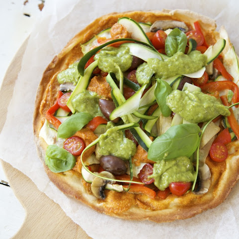 Vegan Pizza with Tomato Cashew Cream and Avocado Herb Sauce
