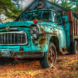 Old Blue by Chris Cavallo - Transportation Automobiles ( fall colors, maine, autumn, fall, autumn colors, rusty, rust, old truck, abandoned )