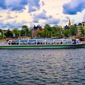 Amsterdam by Pravine Chester - City,  Street & Park  Vistas ( skyline, vista, amsterdam, cityscape, boat, landscape, river, city )