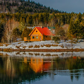 A Quiet Reflection by Susan Hill - Landscapes Waterscapes ( water, reflection, cottage )