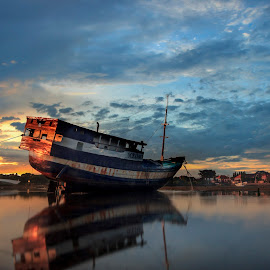 Reflections by Ade Irgha - Transportation Boats ( clouds, visit bali, boats, reflections, sunrise )