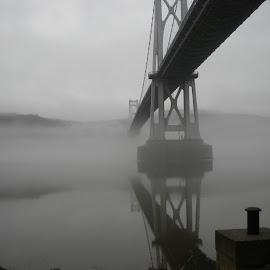 Foggy Midhudson Bridge by Doug Ireland - Buildings & Architecture Bridges & Suspended Structures ( foggy, bridge, morning, mist, hudson river )