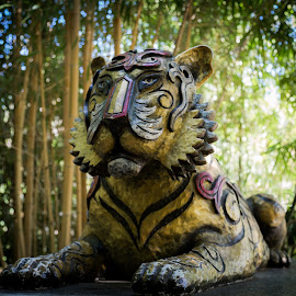 Guardian by Tim Davies - Buildings & Architecture Statues & Monuments ( cat, statue, tiger, colorful, green, india, yellow, stripes )