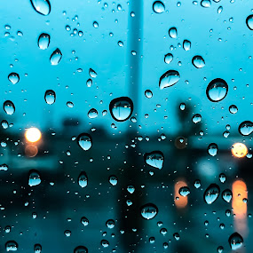 Rain Water Droplets  by Satheesh Ramaswamy - Abstract Water Drops & Splashes