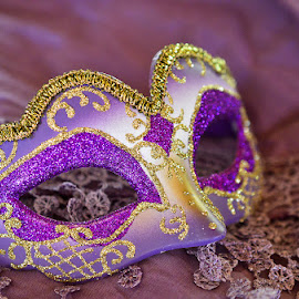 Venetian Mask by Laurette van der Merwe - Artistic Objects Clothing & Accessories ( purple, clothing, white, masks, celebration, gold, party, accessories, scarf, glitter, venetian mask,  )