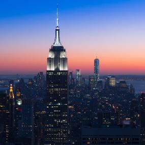 Skyline New York City by Fabrizio Contadini - City,  Street & Park  Skylines ( lights, skyline, sky, skyscraper, blue, sunset, empire state building, night, new york, landscape, river, city,  )