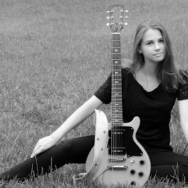 Girl and Guitar by Irina Kartashova - People Portraits of Women ( girl, black and white, guitarist, guitar, portrait,  )