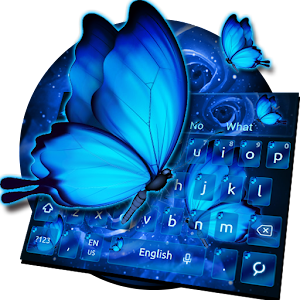 Download Blue Butterfly Rose Keyboard Theme For PC Windows and Mac