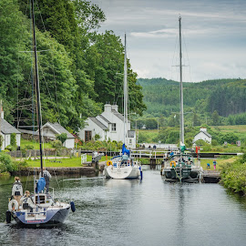 Boats on Crinan Canal, Scotland by Liam Coburn Dunne - Transportation Boats ( tranquil, scotland, transport, nikon 70-200 f2.8, nikon d800, liam coburn, boats, yacht, lochgilphead, canal, crinan )