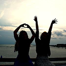 Shadow Girls by Terri Mills - People Couples ( water, girls, sky, friends, sunset, friendship, beach,  )