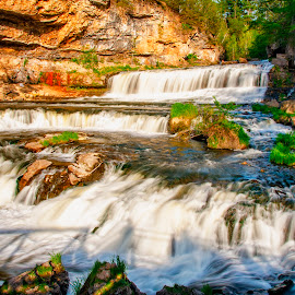 Willow Falls by Sarthak Bisaria - Landscapes Waterscapes ( water, minnesota, state park, waterfall, willow falls, long exposure, rocks )