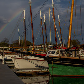 Rainbow in the Harbor by Ruth Sano - Transportation Boats ( clouds, sailboats, colorful, boats, rainbow, photography )