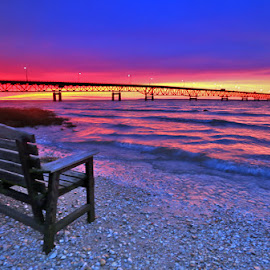 Easy Chair by Mike Grosso - Landscapes Sunsets & Sunrises ( lake michigan, lake huron, mackinaw bridge, northern michigan, great lake state, relax, tranquil, relaxing, tranquility )