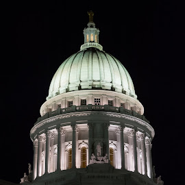 Capital At Night by Chris Klug - City,  Street & Park  Historic Districts ( wisconsin, madtown, night photography, fall, night, capital, nightscape )