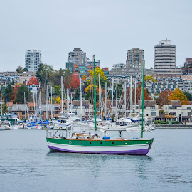 Pastels and fall colours by Cory Bohnenkamp - City,  Street & Park  Skylines ( water, skyline, vista, fall, boat, city )
