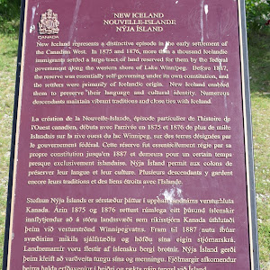 This plaque is written in three languages: English, French, and Icelandic. The following is the transcription of the English: NEW ICELAND New Iceland represents a distinctive episode in the early ...