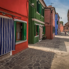 Burano by Ole Steffensen - City,  Street & Park  Street Scenes ( venezia, church, italia, street, venice, burano, italy, colours )