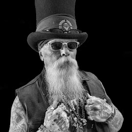 Master of Ceremonies by David Bair - People Body Art/Tattoos ( black and white, tattoos, beard, man, vest, hat )