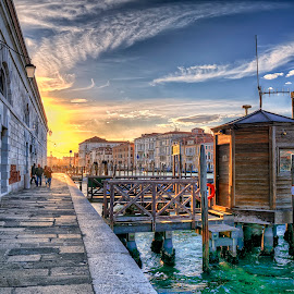 Venice by Cristian Peša - City,  Street & Park  Street Scenes ( gondola, sunset, grand canal, venice, historic district )