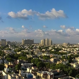 Sky Line captured from 17th Floor Balcony   by Puneet Dutta - Landscapes Cloud Formations ( #couds #sky #line #buildings )