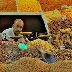 Salesman by Tomasz Budziak - People Portraits of Men ( market, food, morocco, africa, portraits,  )