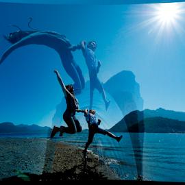 Summertime by Janet Gilmour-Baker - Digital Art People ( jumping, digital art, vancouver island, ocean, beach, summertime, people, jump )