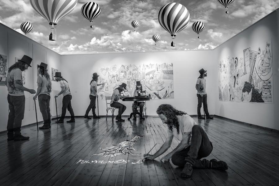 the painter by Jo Polyxromos - Digital Art People ( painter, art, artist, fine art, man, black and white, people, digital art )