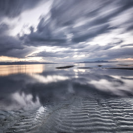 Salt Beauty by Givanni Mikel - Landscapes Waterscapes ( water, clouds, sand, utah, sunset, salt lake, long exposure )