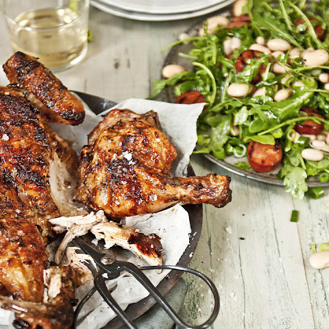 Whole Grilled Chicken with Chorizo-Bean Salad