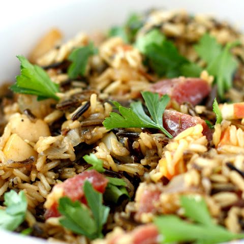 Wild Rice Stuffing with Salami, Mushrooms, and Apples.