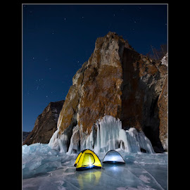 Tents on Lake Baikal by Dominic Byrne - Landscapes Travel ( olkhon island, lake baikal, orion, lake, landscape, frozen, siberia, olkhon, sky, winter, russia, tents, camping, ice, stars, night )