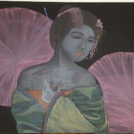 Geisha  by Paula Moore - Drawing All Drawing ( draw, pastels, geisha, art, artlover, canvas, artist, softpastels, drawer, drawing, artwork )