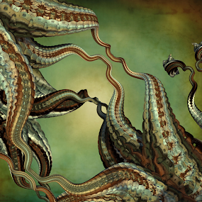 by Glenda Popielarski - Illustration Abstract & Patterns ( m3d, mandelbulb, abstract art, green, digital art, fractal art, mandelbulb 3d, raw fractal, mb3d, octopus, fractal, tentacles )