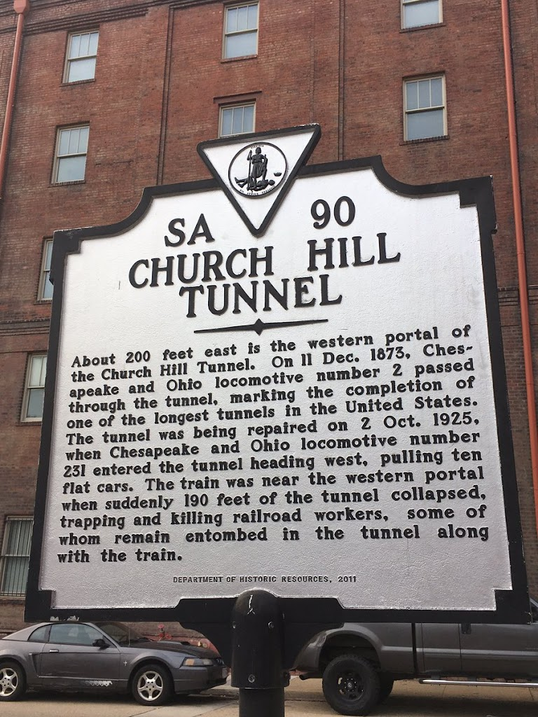 CHURCH HILLTUNNEL About 200 feet east is the western portal of the Church Hill Tunnel. On 11 Dec. 1873, Ches-apeake and Ohio locomotive number 2 passed through the tunnel, marking the completion of ...