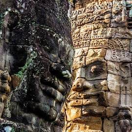 Ancient Love by Chris Brown - Buildings & Architecture Places of Worship ( angkor thom, temples, faces, angkorian, dark and light, moss, stone, whoshotchris, angkor, bayon, khmer, south east asia, temple, love, jungle, asia, cambodia, s.e asia )