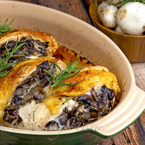 Mushroom Stuffed Chicken Breast with Rosemary Butter