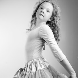 my little ballerina by Sheena True - Babies & Children Child Portraits ( girl, black and white, redhead, ballet )