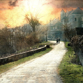 Lazy Afternoon by Bjørn Borge-Lunde - Digital Art Places ( pathway, village, park, riverside, sunset, trees, cityscape, people )