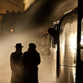 'Could Be Anywhere' by Katherine Flynn - People Street & Candids ( steam train, train, couple, night, 1940, light, relax, tranquil, relaxing, tranquility )