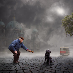 Grab it ! by Frank Quax - Digital Art People ( fantasy, creative, street, mood, edit, dog, manipulation, photoshop )