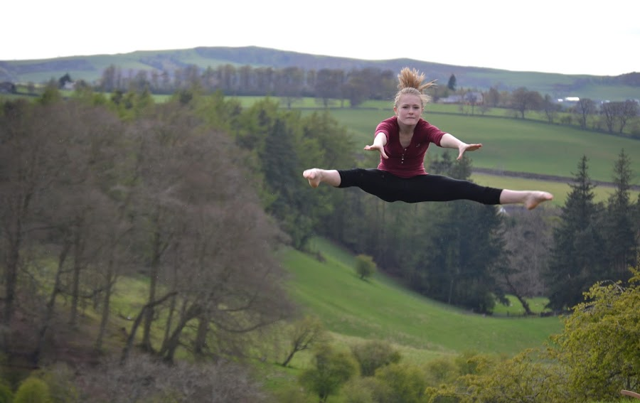 Jumping with a View by Keri Stephenson - Sports & Fitness Fitness ( scotland, new, girl, clyde, focus, view, valley, lanark, landscape, photography, gymnastics, jump,  )