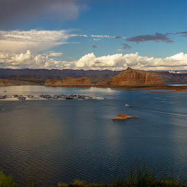 Sun Setting on Lake Powell by Jeannie Meyer - Landscapes Waterscapes ( clouds, mountains, lake powell, blue, sunset, grand canyon,  )