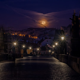 Charles Bridge  by Robert Grim - Buildings & Architecture Statues & Monuments ( moon, europe, czech republic, foto, morning, bride, prague,  )