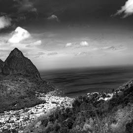 by Paul Scullion - Landscapes Mountains & Hills ( hills, twin peaks, sea, mountian, seaisland, saint lucia )