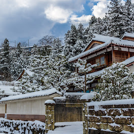 Samurai House in Winter by Yudawa Suseno - Landscapes Weather ( old house, japan, winter, snow, storm )
