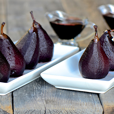 Red Wine Poached Honey Belle Pears With Gorgonzola And Walnuts