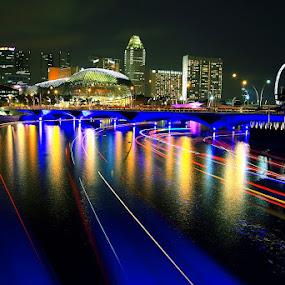 River of Light by Alit  Apriyana - City,  Street & Park  Vistas ( light trails, bridge, marina bay, singapore, singapore river )