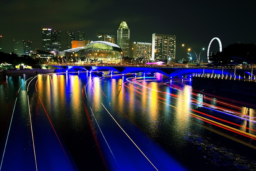 River of Light by Alit  Apriyana - City,  Street & Park  Vistas ( light trails, bridge, marina bay, singapore, singapore river )